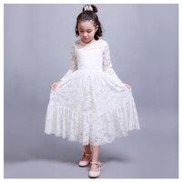 לבן רוח נסיכה מתוקה הולו רוז תחרה שרוולים שמלת קשת סרט