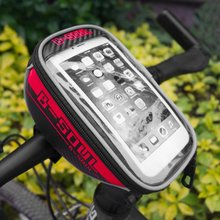 B-SOUL Bicycle Front Top Tube Bag Bike Saddle Bag for 4.8 Inch/5.5 Inch Mobile Phone Screen Touch Holder for Outdoor Riding