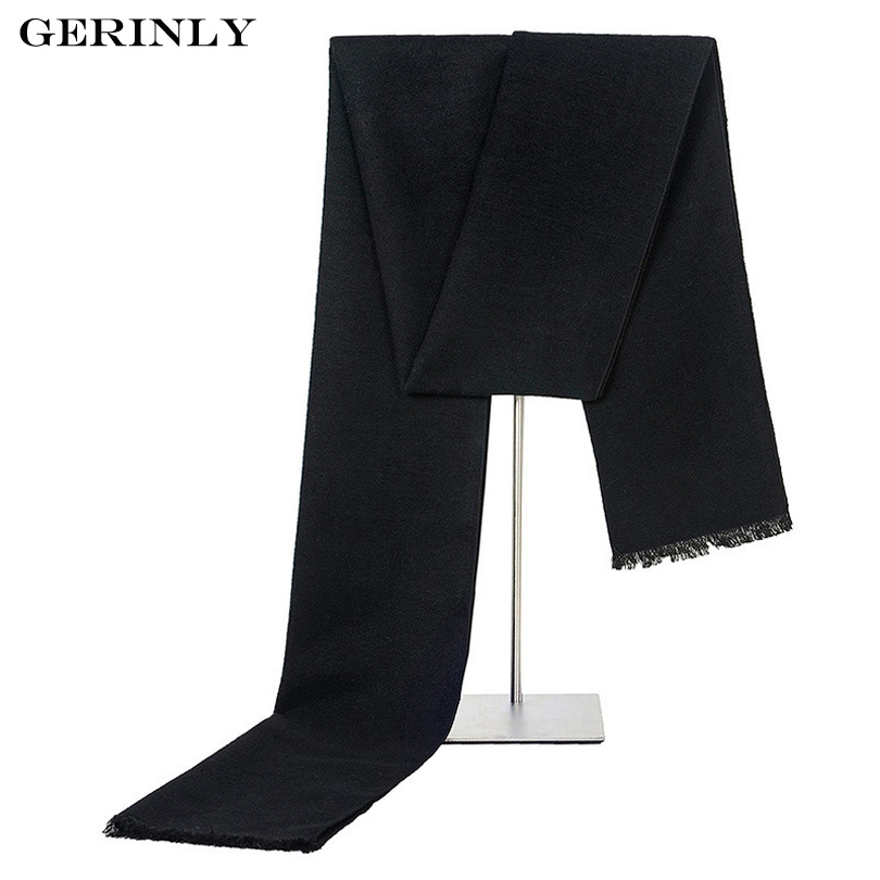 New Men's Scarf Fashion Classic Solid Color Cashmere Scarves Winter Warm Scarf Viscose Smooth Scarf with Tassel 30cm*180cm