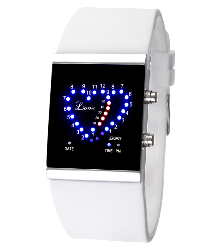 Fashion sports led electronic watch trend jelly ladies watch heart romantic lovers watch