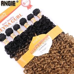 Image 4 - ANGIE Synthetische Kinky Krullend Haar Bundels Two Tone Ombre Kleur Haar Weave 16 18 20 inches Gemengde 1 pak Oplossing