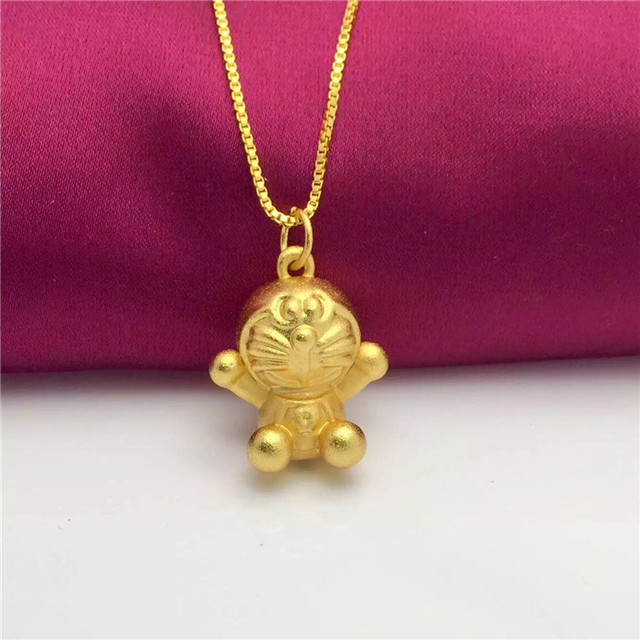 Top quality 24k gold necklace fashion jewelry exquisite doraemon top quality 24k gold necklace fashion jewelry exquisite doraemon charm pendant necklace for women aloadofball Choice Image
