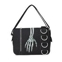 JIEROTYX Unisex Skeleton Hand Walking Dead Gothic Bags Women Waterproof Shoulder Crossbody Messenger Bag Women For Travel
