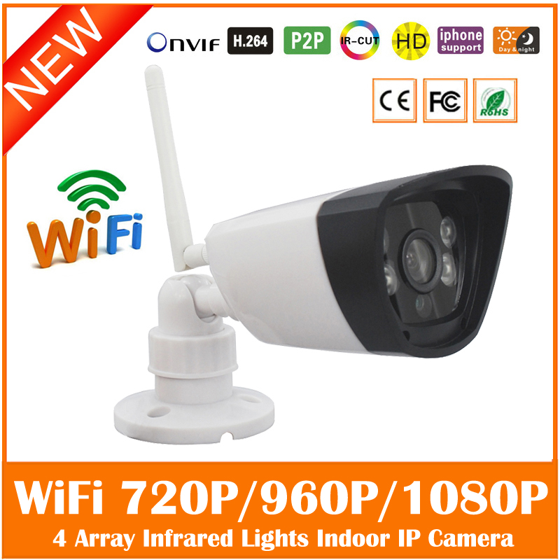 Hd Bullet Ip Camera Wifi 2.0mp White Infrared Night Vision Onvif Home Surveillance Cmos Cctv Webcam Motion Detect Freeshipping hd 720p ip camera onvif black indoor dome webcam cctv infrared night vision security network smart home 1mp video surveillance