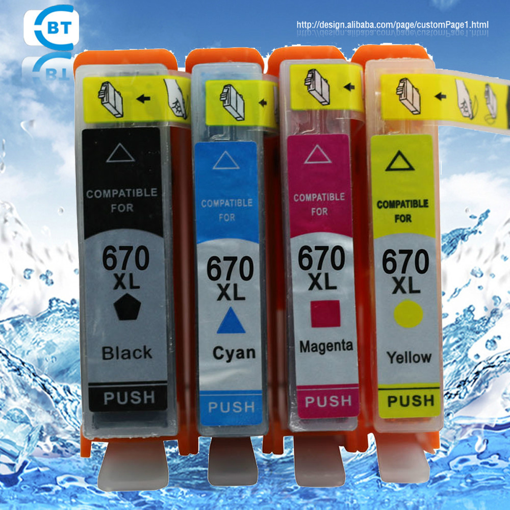 4 color 1set Compatible HP670 ink cartridge for HP Deskjet 3525 4615 4625 5525 printer image
