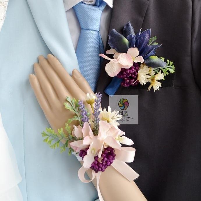 Wedding Flowers Men: 4 Pcs/ Lot Hand Made Corsage Groom Groomsman Iris Flowers