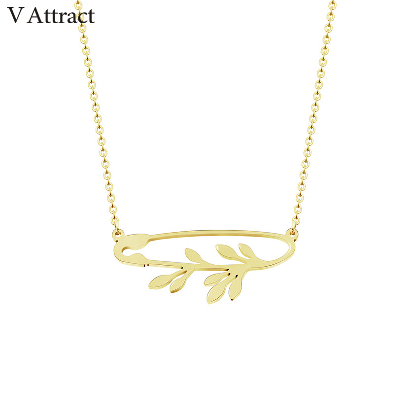 V Attract Tiny Leaves Branch Safety Pin Maxi Choker Necklace for Women Best Friend Bijoux Femme Hip Hop Jewelry Gold Ketting