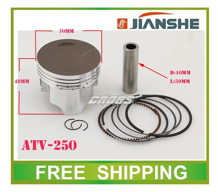 купить loncin JS171FFM air cooled engine JIANSHE 250cc ATV piston ring pin set 70mm accessories free shipping по цене 2719.22 рублей