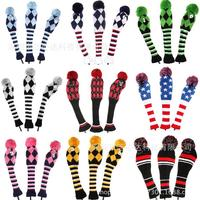 1/3/5 set pom pom wool knitting material woven wood driving golf headcover