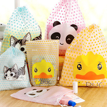 2017 Fashion Cat Duck Panda Waterproof Travel Cosmetic Bag Makeup Pouch Toiletry Storage Organizer Container String Handbag P208
