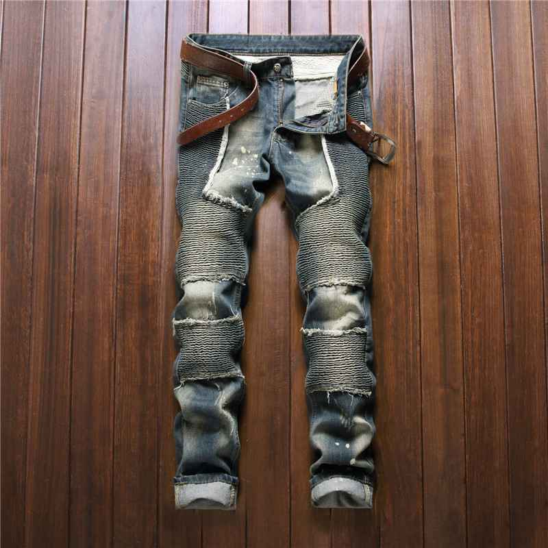 #2759 2016 Mens jogger jeans Distressed jeans men Motorcycle Fashion jeans homme Skinny Famous brand men Hip hop jeans
