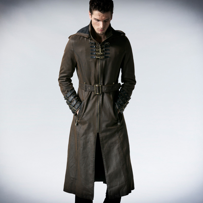 Man Coffee Dark Twill Long Coat Jacket Punk Fashion Handsome ...