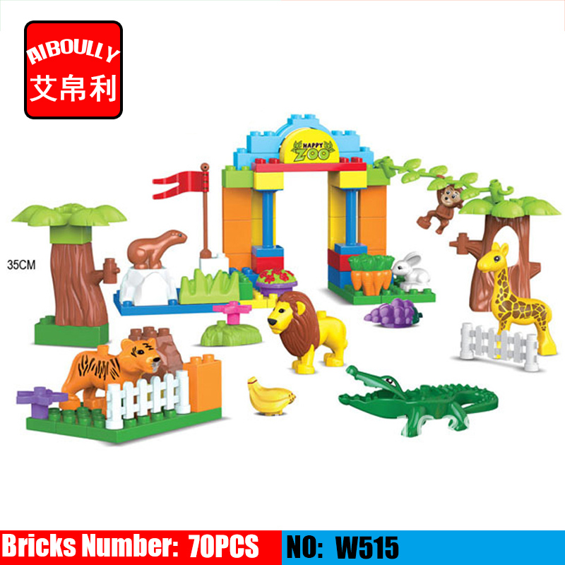 Animal Building Large Particles Blocks The Zoo crocodile Brick Set Big Blocks Children Model Toys Compatible with Duploe Baby lunch at the zoo