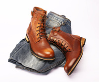 Drop shipping new style martin boots for men vintage brown/red round toe ankle booties lace up zipper short boot