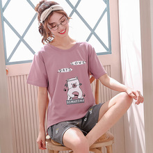 Print short-sleeved T-shirt shorts pajamas set cartoon Pikachu pyjamas women girl pijama mujer summer refreshing home clothing