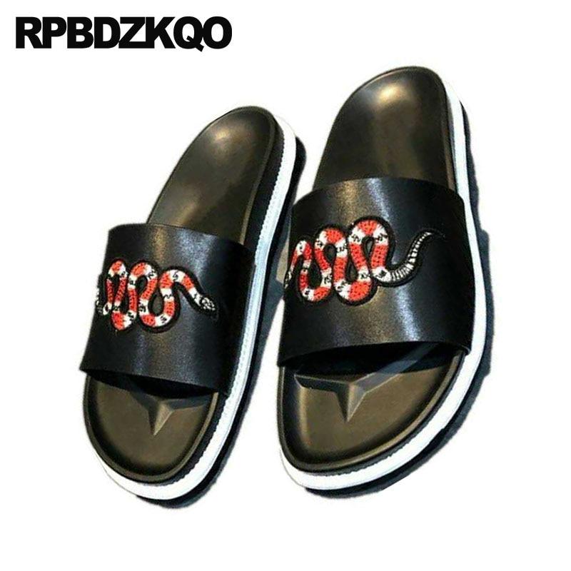 3 black Verão Abelha Genuína Desliza Pulseira Sapatos Deslizamento Sandálias Black Em Preto Chinelos Bordado 1 2 Alta De Ao Livre Qualidade black Grife Couro Homens Ar Agradável xgqFHwq