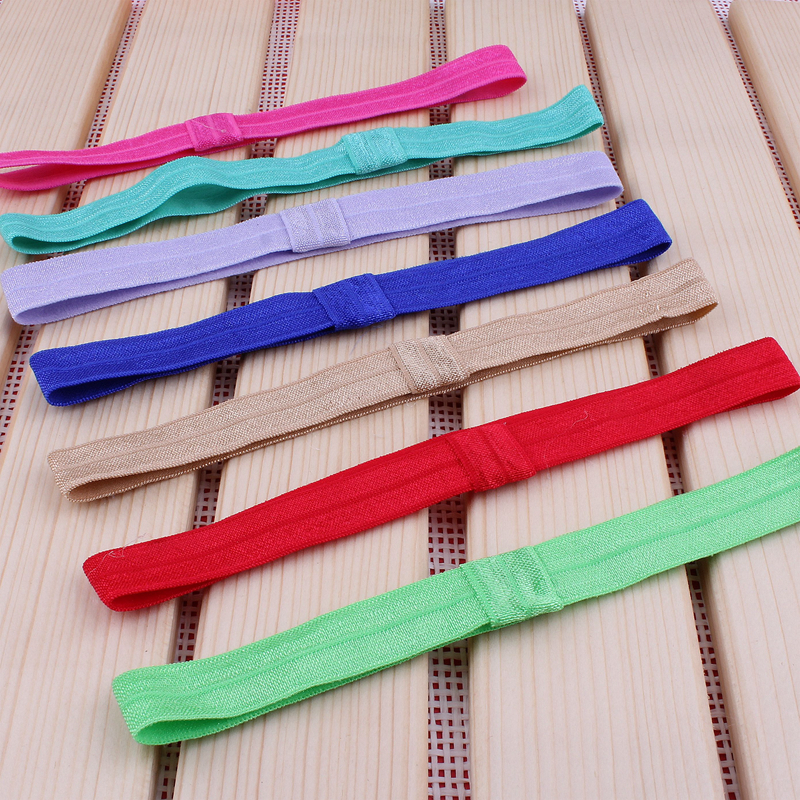 10pcs/lot 20colors Handmade Solid Candy Nylon Headbands For Kids Girls Hair Accessories Artificial Elastic Band For Headbands