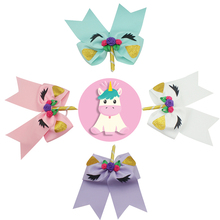 Adogirl 4 PCS 6-7 Fashion Unicorn Party Hair Bows Elastic Headbands for School Girls High Quality Cheerleading Scrunchies