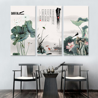 3 Panels Water Lily Chinese Ink Painting Hand Painted Picture Print On Canvas Home Decor Wall