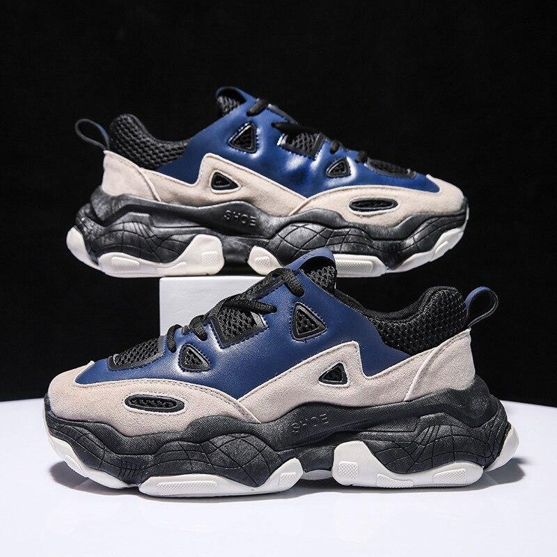 2019 New Men Chunky Sneakers Lace-up Men Casual Shoes Increasing Platform Shoe Men Sneakers Breathable Male Tenis Adult Footwear