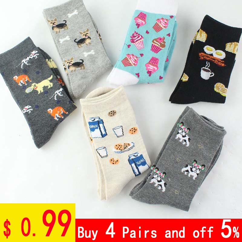 Skarpetki Creative Funny Socks Harajuku Cookies/Pizza/Egg Pattern Divertidos Pug Cute Socks Women Happy Chaussette Femme Sokken