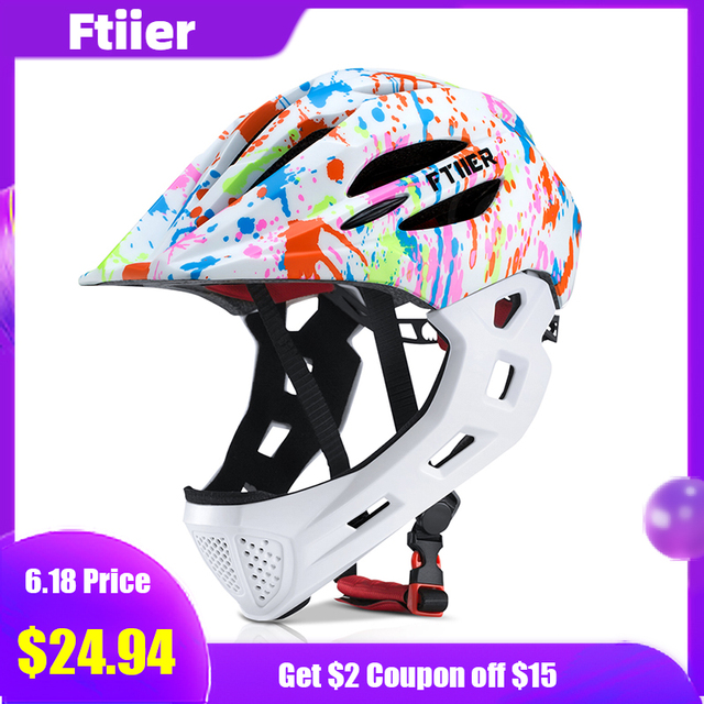 Ftiier Kid LED Mountain Mtb Road Bicycle Helmet Detachable Pro Protection Children Full Face Bike Cycling Helmet Cascos Ciclismo