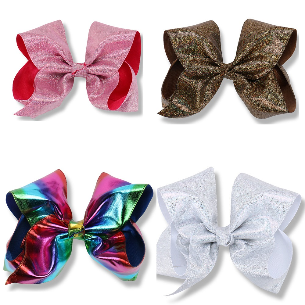 Boutique 20pcs 8 Fashion Cute Glitter Deluxe Satin Bow Hairpins Solid Rainbow Color Bowknot Hair Clips Headware Accessories