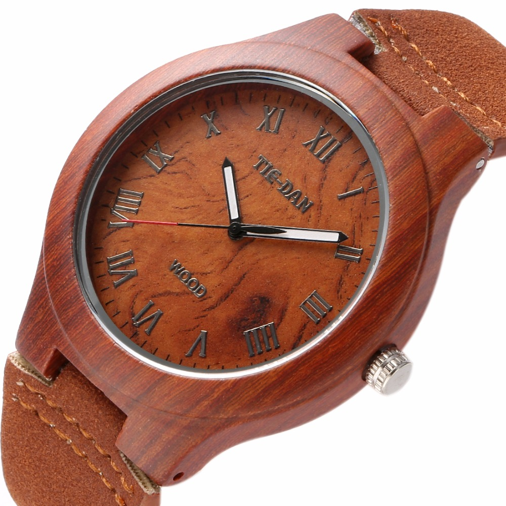 Classical Bamboo Wooden Watch New Women Wristwatches High Quality Vintage Style Men Dress Watch Genuine Leather