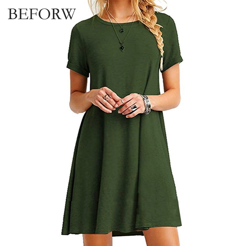 BEFORW Women Vintage Dress Black Green Ss