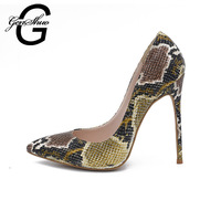 GENSHUO Marka Yüksek Topuk Ayakkabı 2018 Yılan Baskı Kadın Ayakkabı mat Pompaları Parti Düğün Ayakkabı Büyük Boy 41 Seksi Topuklar Stilettos