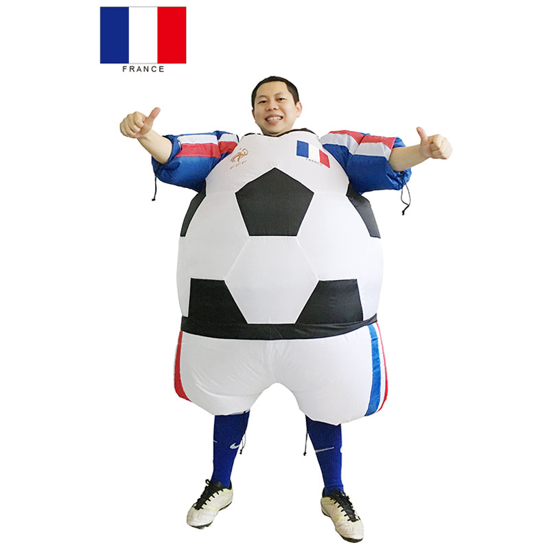 France Inflatable Foot ball Costume French disfraz adulto Foot ball Carnival Party Costume disfraces adulto
