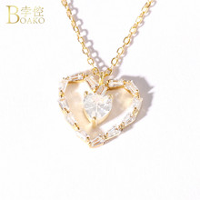 BOAKO Long Link Chain Heart Necklace Austrian Crystal Gold Color Heart Pendant Necklace for Women 925 sterling-silver-jewelry все цены