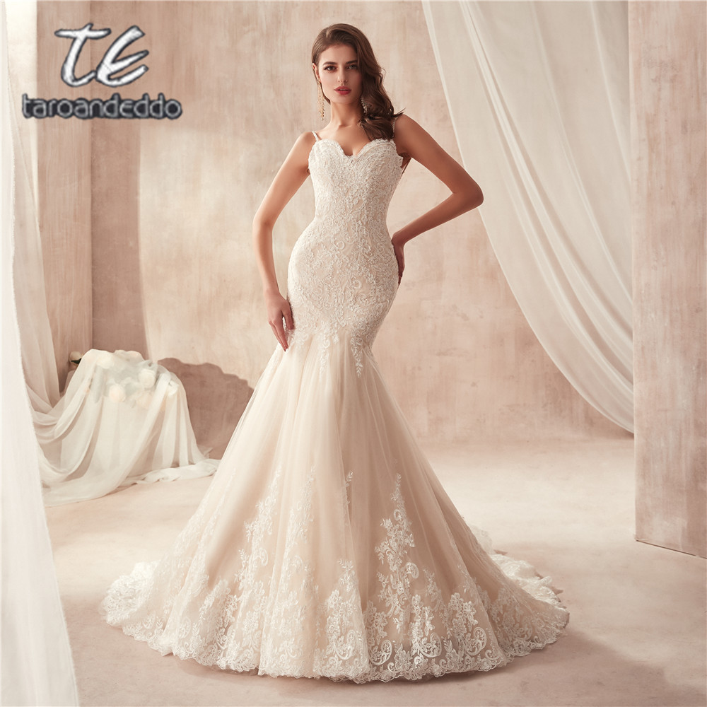 Spaghetti Straps Champagne Mermaid Wedding Dress 2871 France Lace Appliques on Tulle with Wide Hemline Bridal