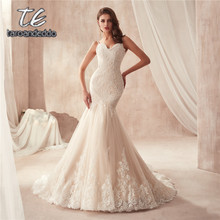 Spaghetti Dây Đeo Champagne Mermaid Wedding Dress 2871 Pháp Ren Appliques trên Tulle với Hemline Wide Bridal Gowns