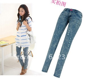 9b97baeb06b055 New fashion women Blue strech denim Ripped Hole skinny capri Jeans Jeggings  leggings pants trousters