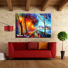 Whosale landscape Painting Hand Painted oil Canvas Abstract Lovely Couple Picture For Living Room Wall Art Home Decor