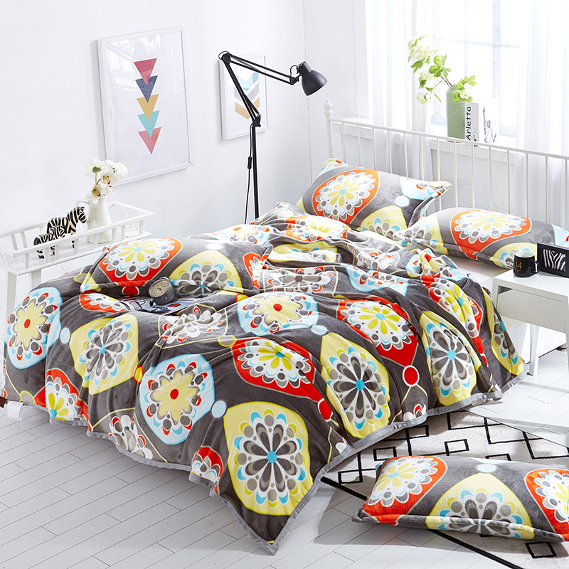 New Flowers Cartoon Animals Flannel Blanket Coral Fleece Soft Warm Plaid Twin Full Queen Throw Adult Plaid Blankets on the Bed