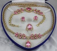 Vendita calda nuovo Stile>>>> gioielli Rosa di Cristallo della Gemma delle donne oro giallo Collana Dell'orecchino Dell'anello Del Braccialetto