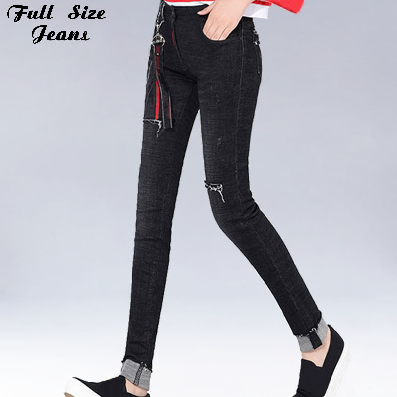 Plus Size Black Ripped Skinny Extra Long   Jeans   4XL 7XL Tall Girl Frayed&Cuffed Mom Stretch Denim Pencil Pants Taller Femme   Jean