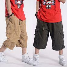 プラスサイズ夏のカジュアルパンツ男性綿貨物ビッグポケットルーズバギーヒップホップショーツバミューダ軍事男性服
