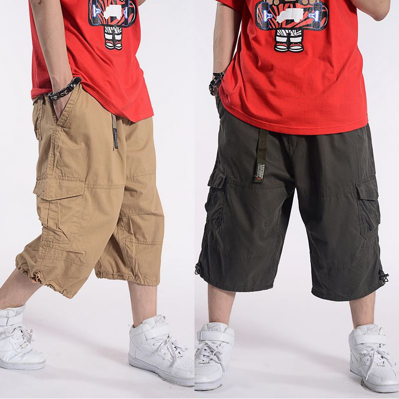Plus Size Summer Casual   Shorts   Men Cotton Cargo   Shorts   With Big Pocket Loose Baggy Hip Hop   Shorts   Bermuda Military Male Clothing