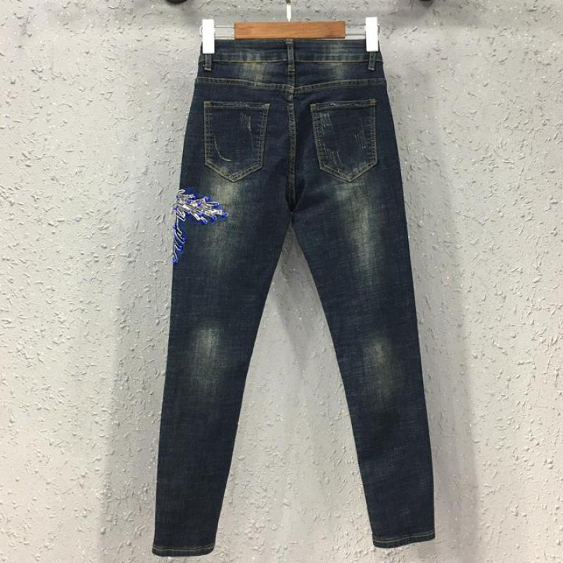 Pantalon Fleur Mince Élastique Printemps Crayon Maigre Stretch Perles Automne Femme Femmes Jeans Denim Broderie Designer Pantalon 778xnC
