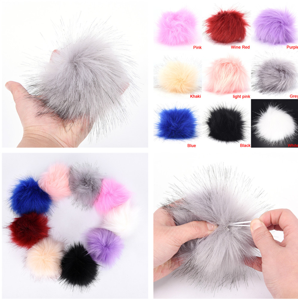 1 pcs 10cm/3.9inch DIY Faux Fur Pom Poms Ball Fluffy DIY Winter Hat   Skullies     Beanies   Knitted Cap Pompoms