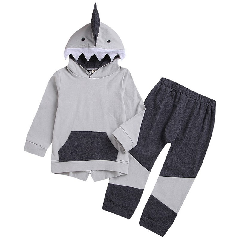 Toddler Baby Kids Clothing Boys Girls Long Sleeves Cartoon Shark Hooded Top Long Pants Set in Clothing Sets from Mother Kids