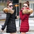 2016 de moda de nova mulheres jaqueta de inverno longo casaco fino feminino engrossar parka para baixo algodão clothing clothing vermelho com capuz estudante