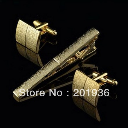 Free shipping,Fashion Men's Tie Clip+cuff links set,men's formal accessories,Gold color,Alloy,3patterns,Elegant Gift