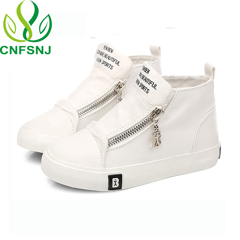CNFSNJ High Quality Kids Shoes For Girls Shoes Children Canvas Shoes Boys Fashion White Zip 2018 Spring Autumn Children Sneakers
