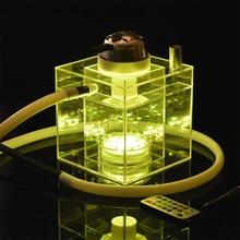 New Acrylic Shisha Pipe Set Hookah with LED Light Sheesha Silicone Bowl Hose Spr
