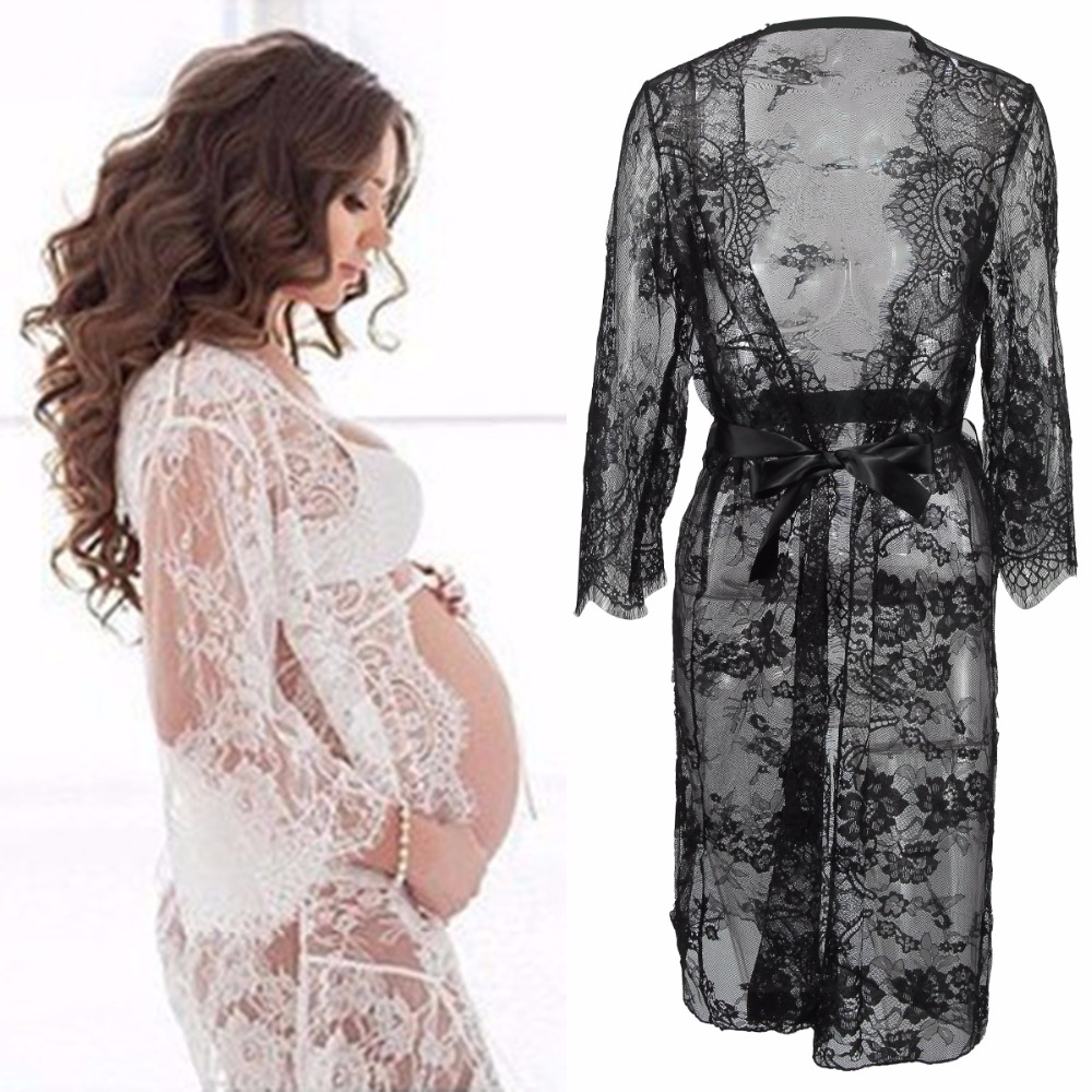 Puseky Maternity Photography Props Pregnant Dress For Photo Shoot Maternity Clothes Long Lace Dress Pregnancy Clothing V Neck photo shoot