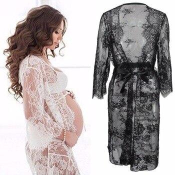 8089a36a4 Puseky maternidad fotografía Props vestido de embarazada para sesión de  fotos ropa de maternidad Vestido largo de encaje ropa de embarazo cuello en  V